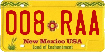 NM license plate 008RAA