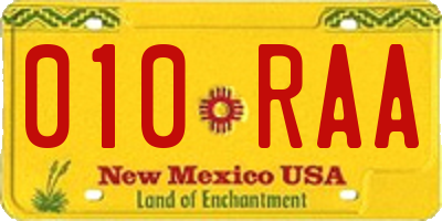 NM license plate 010RAA