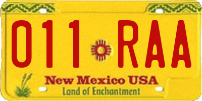 NM license plate 011RAA