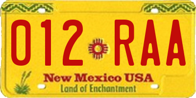 NM license plate 012RAA