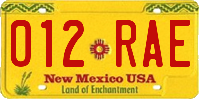 NM license plate 012RAE
