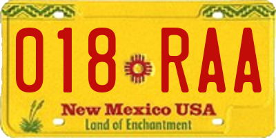 NM license plate 018RAA