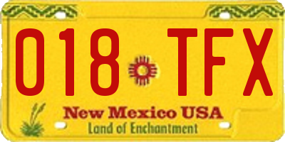 NM license plate 018TFX