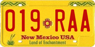 NM license plate 019RAA