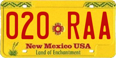 NM license plate 020RAA