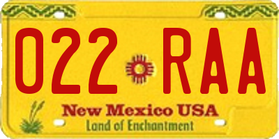 NM license plate 022RAA