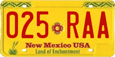 NM license plate 025RAA