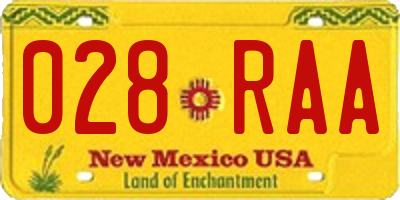 NM license plate 028RAA