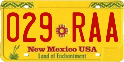 NM license plate 029RAA