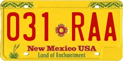 NM license plate 031RAA