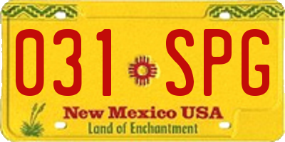 NM license plate 031SPG