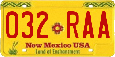 NM license plate 032RAA
