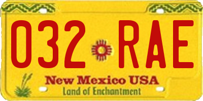 NM license plate 032RAE
