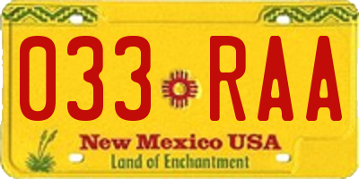 NM license plate 033RAA