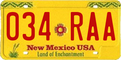 NM license plate 034RAA