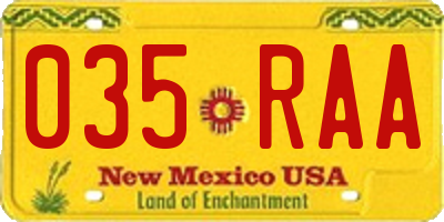 NM license plate 035RAA