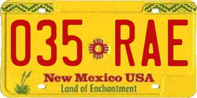 NM license plate 035RAE