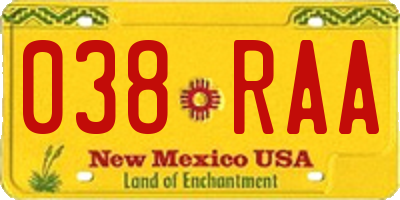NM license plate 038RAA
