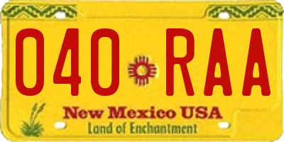 NM license plate 040RAA