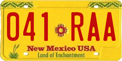 NM license plate 041RAA