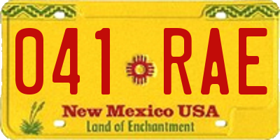 NM license plate 041RAE
