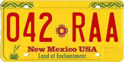 NM license plate 042RAA