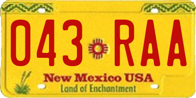 NM license plate 043RAA
