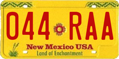 NM license plate 044RAA