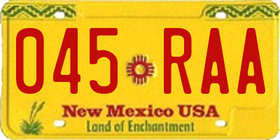 NM license plate 045RAA