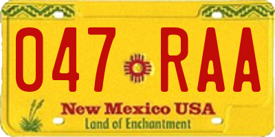 NM license plate 047RAA
