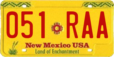 NM license plate 051RAA