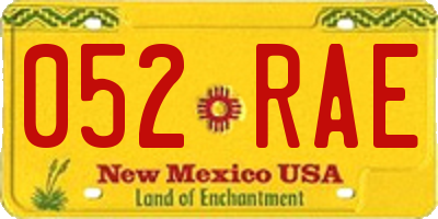 NM license plate 052RAE