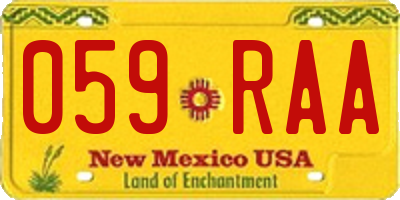 NM license plate 059RAA