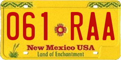 NM license plate 061RAA