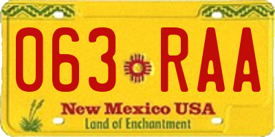 NM license plate 063RAA