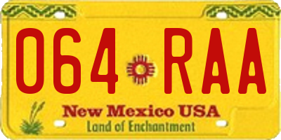 NM license plate 064RAA