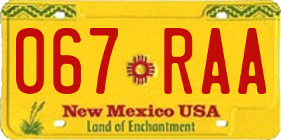 NM license plate 067RAA