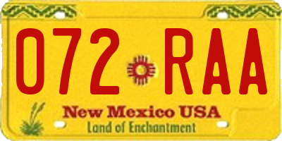NM license plate 072RAA
