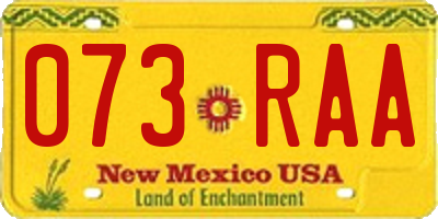 NM license plate 073RAA