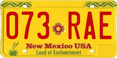 NM license plate 073RAE