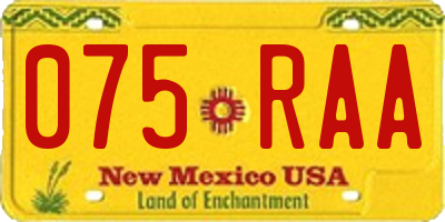 NM license plate 075RAA
