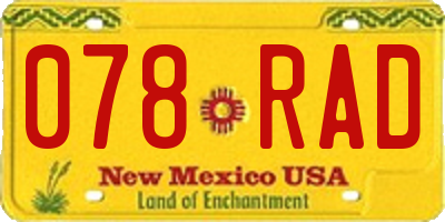 NM license plate 078RAD