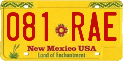 NM license plate 081RAE