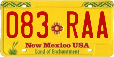 NM license plate 083RAA