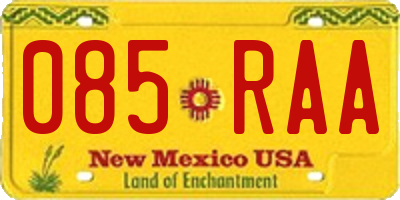 NM license plate 085RAA