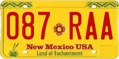 NM license plate 087RAA