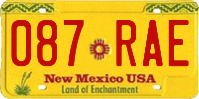 NM license plate 087RAE
