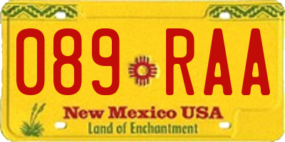 NM license plate 089RAA