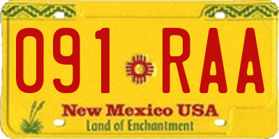 NM license plate 091RAA