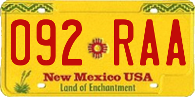 NM license plate 092RAA